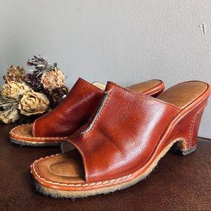1970's Cognac Leather Crepe Heels